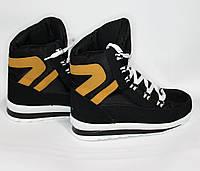 Женские зимние дутики на шнурках черные 5