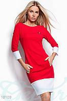 Деловое повседневное платье. Цвет красно-белый.