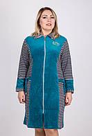 Женский велюровый халат на замке до 60 размера.