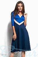 Трехцветное ретро платье. Цвет синий.