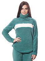 Женская,теплая,флисовая зимняя кофта зеленого цвета с отворотом.Не дорого
