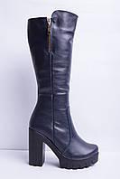Женские сапоги кожаные на толстом каблуке с молнией