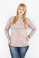Кофта гольф свитер вязаный р.54-56 цвет пудра Y936