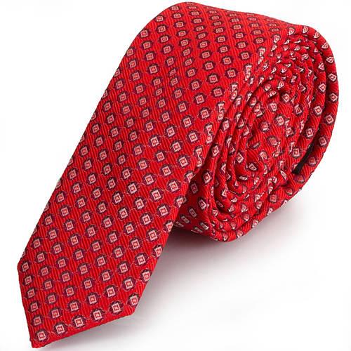 Качественный мужской узкий галстук SCHONAU & HOUCKEN (ШЕНАУ & ХОЙКЕН) FAREPY-02 красный