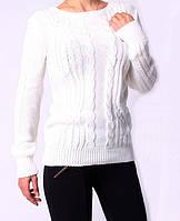 Молодежная женская вязаная кофта белого цвета
