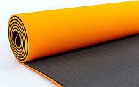 Коврик для йоги ТРЕ Eco 6 мм(двухстронний) оранжевый-черный