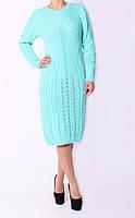 Молодежное женское вязаное платье бирюзового цвета