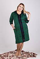 Стильный велюровый женский халат в полоску.