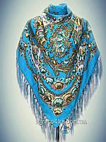 Шерстяной платок Танец лета, голубой