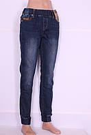 Теплые джинсы женские большых размеров на резинке с манжетами (код 5296)