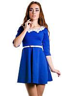 Платье женское с поясом и воротником, фото 1