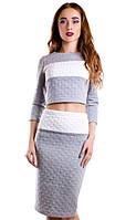 Костюм женский топ+юбка полосы, фото 1
