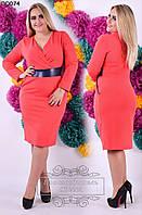 Женское однотонное короткое платье ангора 50-56