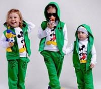 """Детский теплый костюм-тройка """"Микки Маус"""", футер с начесом, рост от 80 до 116 см"""