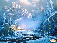"""Схема для вышивки на атласе """"Там, где живут тайны"""" (домик в горах)"""