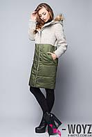 Зимнее пальто крем-хаки FX-1340