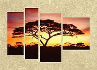 """Модульная картина """"Дерево на закате"""""""