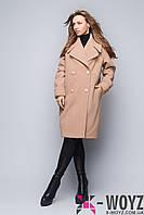 Пальто свободного кроя бежевое демисезонное FX-1411