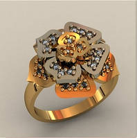 Интересное женское золотое колечко 585* пробы в форме цветка