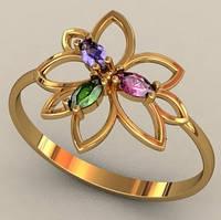 Нежное женское золотое колечко 585* пробы в форме цветочка с Фианитами