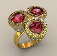 Удивительное крупное женское золотое кольцо 585* пробы с яркими вставками