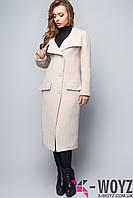 Пальто удлиненного кроя бежевое демисезонное FX-1408