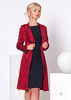 Женский костюм: платье-футляр черного цвета без рукава + удлиненный кардиган красного цвета.