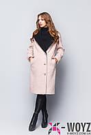Пальто пудра-черный демисезонное FX-1406
