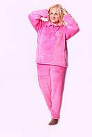 Тепленькая махровая женская пижама розового цвета