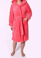 Теплый женский махровый халат кораллового цвета на запах