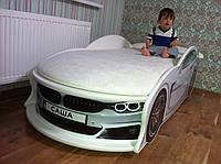 """Детская кровать машина """"BMW"""" белая с матрасом"""