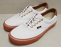 Кеды Vans мужские белые с коричневой подошвой