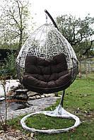 Подвесное кресло качеля кокон для дома и терассы. Шоколадно - белое. Нюська.