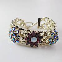 Красивый женский позолоченный браслет на руку с цветами