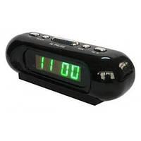 Настольные часы от сети с зеленой подсветкой VST 716 Green, электронные часы с будильником