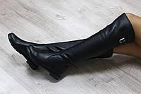 Осенние натуральные кожаные сапоги-ботфорты черные