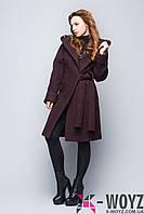 Зимние пальто свободного кроя шоколад FX-1418
