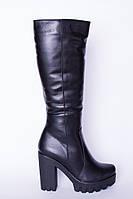 Женские сапоги кожаные на высоком каблуке