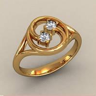 Оригинальное золотое кольцо 585* пробы с двумя Фианитами