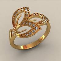 Чудесное золотое колечко в форме листочка с Фианитами