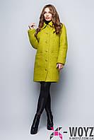 Зимнее пальто удлиненного кроя оливка FX-1341