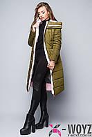 Зимняя удлиненная куртка  хаки-розовый FX-1347