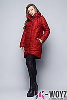 Зимняя куртка удлиненного кроя марсала FX-1350