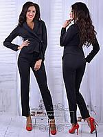 Классный черный  брючный костюм с поясом. Арт-8705/68