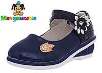 Детские лакированные синие туфли на танкетке с бантиком 26-30 размер