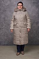 Зимнее женское пальто большие размеры NewMark Дорис (бежевый, олива)