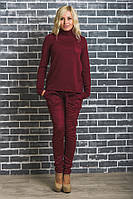 Стильные замшевые брюки бордо, фото 1