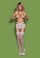 Кружевной пояс для чулок SWANITA garter belt Obsessive (Обсессив) белый