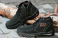 Ботинки туфли зимние мужские черные прошиты исскуственая кожа нубук Львов