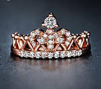 Позолоченное кольцо с цирконами в форме короны р 16,17,18 код 316